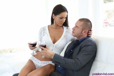 Elegant brunette MILF Angel Dark welcomes a hard cock of a sexy dude in pussy