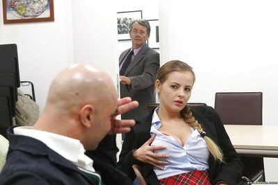 Busty schoolgirl Candy Alexa rides a cock and gives a nice blowjob