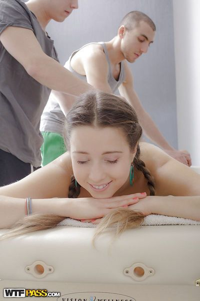 18 year old cutie in pigtails Sasha getting tag teamed in MMF teen 3some