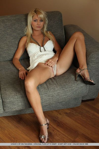 Gorgeous blonde honey Grace C strips out of her sexy white dress