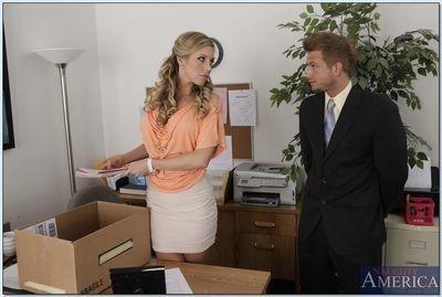 Ravishing blonde babe Samantha Saint gets banged in the office