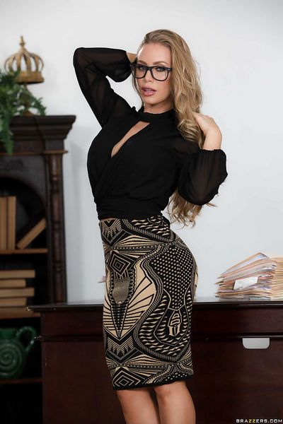 Blonde boss lady Nicole Aniston revealing round tits while stripping in office