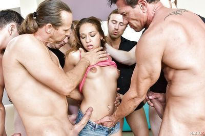 Wild gangbang sex in crazy scenes with latina porn star Sara Luvv
