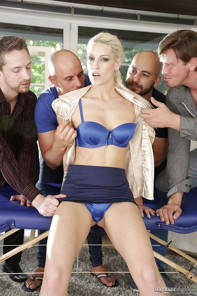 Euro blonde Blanche Bradburry taking filthy DP and giving bjs in gangbang