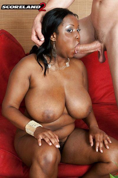 BBBW pornstar Aileen Ghettman taking cumshot on large black tits