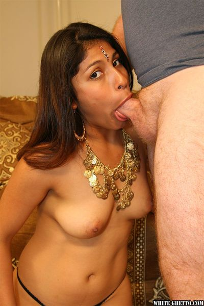 Hot Indian Rani with dark nipples gets cum on hairy pussy after blowjob