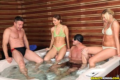European milfs Lindsey Olsen and Sabrina Meor in a hot bath 3some