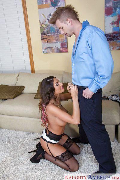 Latina milf wife in stockings August Ames pleasures guy on knees