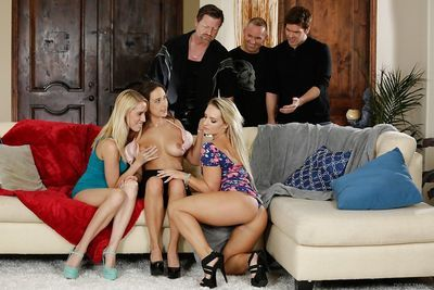 Ashley Adams- Cali Carter and Cadence Lux take cum on face during orgy sex