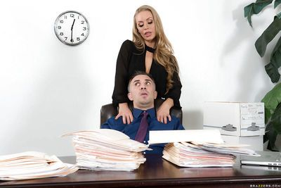 Blonde office worker Nicole Aniston giving co-worker a blowjob