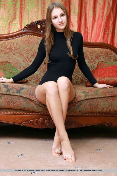 Brunette Izabel A undressing to spread legs & show shaved beaver & hot ass