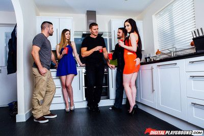 Amber nevada wraps her mouth and pussy around her guests hard co