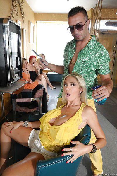 MILF blonde Evita Pozzi with big hooters fucking in public