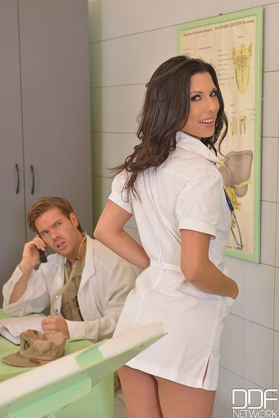 Brunette Euro nurse Alexa Tomas taking hardcore anal sex from doctors