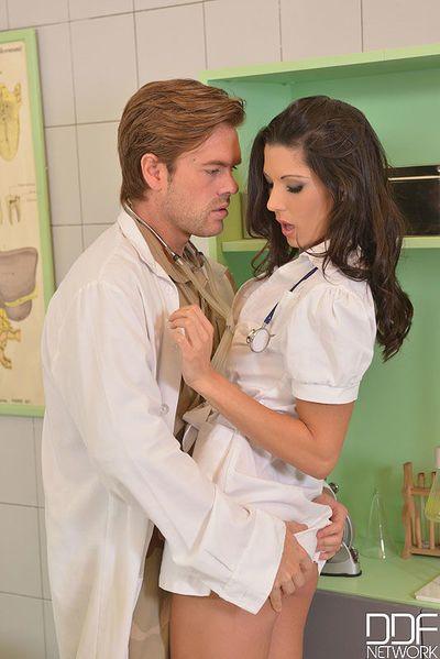 Brunette Euro nurse Alexa Tomas taking hardcore anal sex from doctors