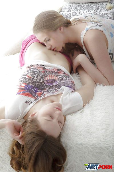Frolic young lesbians have some pussy fingering and toying fun