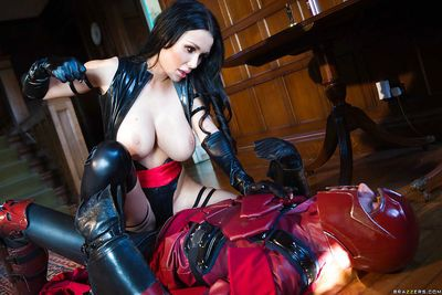 Buxom pornstar Patty Michova taking hardcore sex in latex cosplay uniform