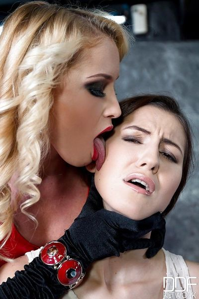 Kinky Euro lezdom BDSM scene with fetish chicks Meg Magic and Kathia Nobili