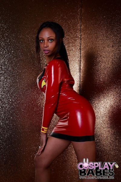 Black babe Lola Marie strutting in latex cosplay dress before masturbating