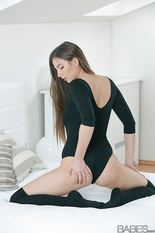 Long legged Connie Carter in socks- baring big breasts & bald twat close up