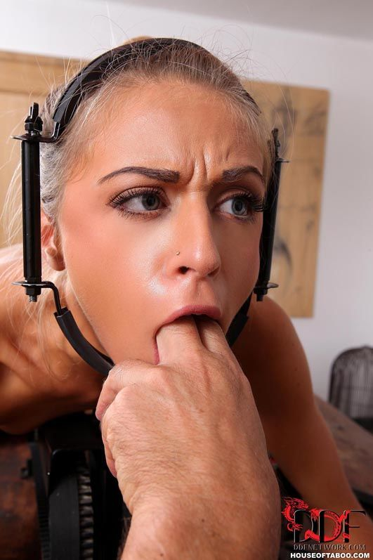 Chloe Lacourt is locked into bondage device for machine fuck and spanking - part 2