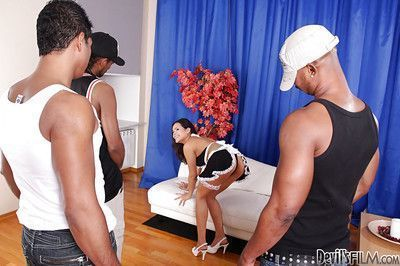 Frisky Asian courtesan Jasmine F is busted by two huge cocks