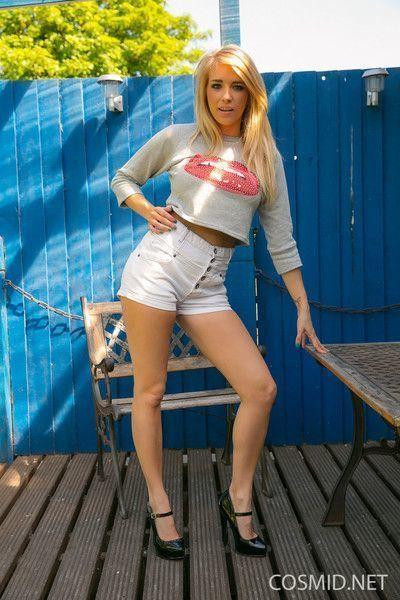 Sexy amateur blonde teen in  garden