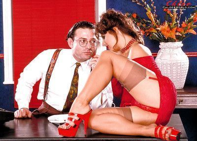 Tempting MILF in stockings Chloe Vevrier seduces a guy in the office