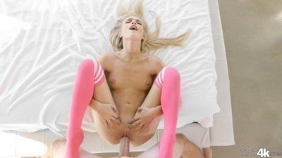 Skinny blondie dicked with a huge rod