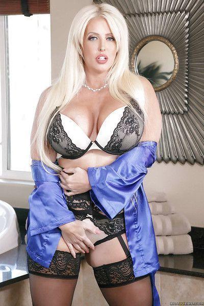 Chunky blonde mom Alura Jenson posing for lingerie photo shoot