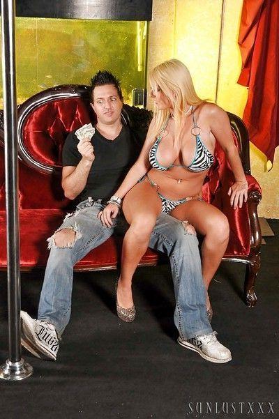 Big tit and ass blonde pornstar in bikini Sophie dancing and sucking
