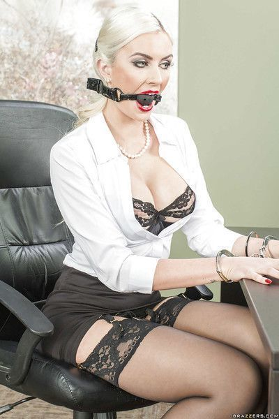 Non nude posing in office features hot blonde beauty Gigi Allens