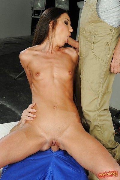 Teen cowgirl Nataly Gold enjoys double penetration in a threesome