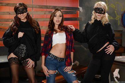 Teen lesbians Aubrey Gold, Jenna Sativa and Nina North get naked together