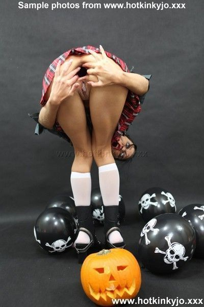 Halloween shoot with hot kinky jo spreading her ass and inserting toys deep whil