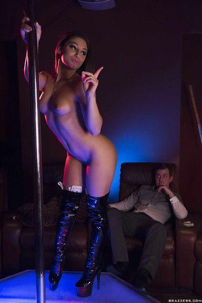 Teen pornstar Abella Danger working stripper pole in long boots for cash