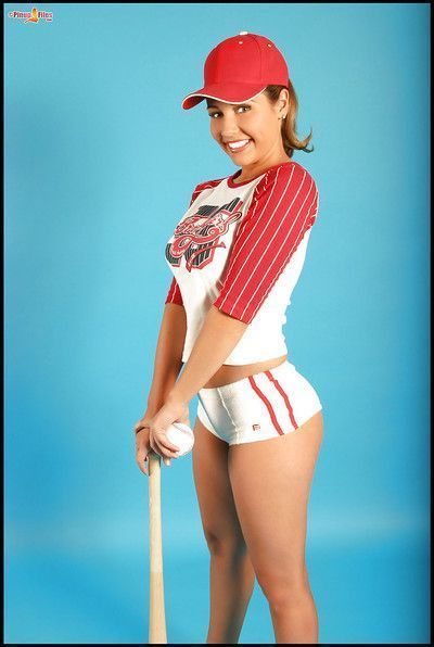 Big titted baseball player posing topless and stripping off panties