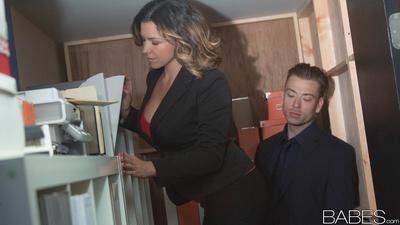 Busty office worker Danica Dillon devours huge penis in heels