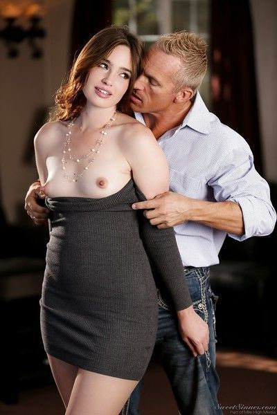 Clothed pornstar Jodi Taylor freeing flat chest and bush from slinky dress