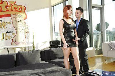 Horny redhead milf with big boobs named Siri banged on the sofa