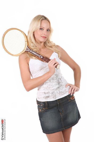 Charming blonde jana cova stripping with a racquet