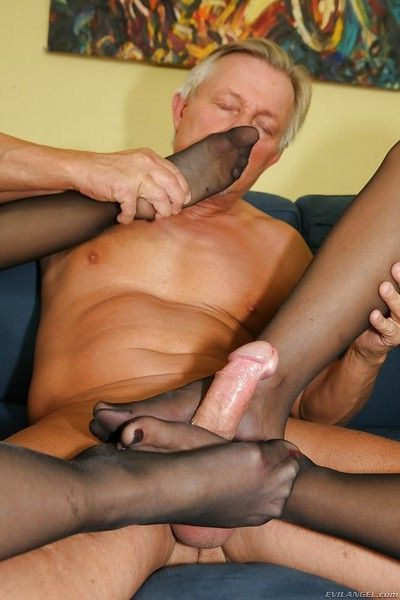 Lusty foot fetish hotties have anal threesome with a studly lad