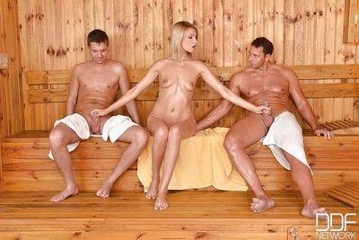Wet Euro beauty Karina Grand taking DP from big cocks in the sauna