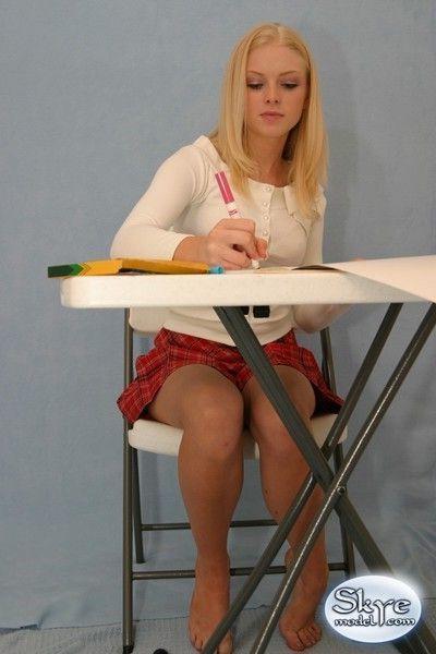Blonde amateur teen schoolgirl