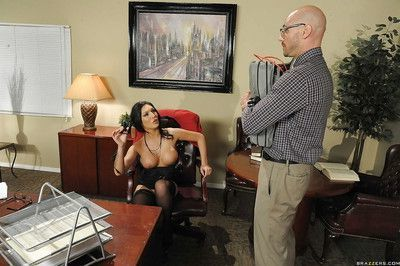 Busty MILF in stockings Emily B gets fucked hardcore in the office