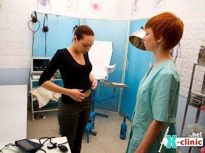 Brunette in medical control