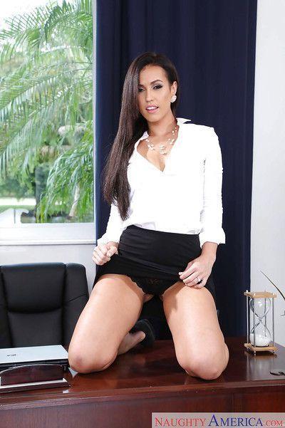 Brunette office babe Kelsi Monroe showing off phat secretary ass in office