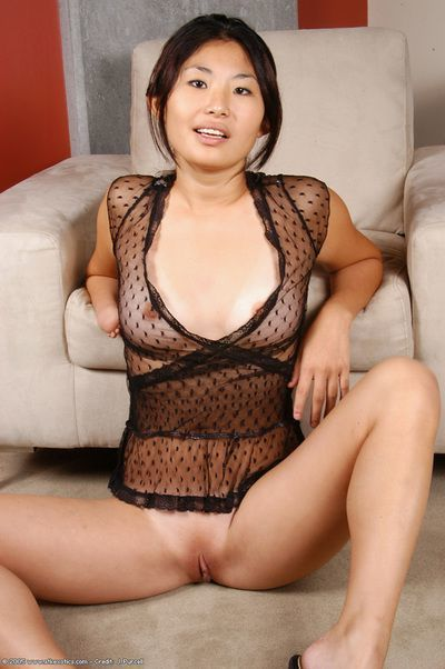 Asian first timer with small tits spreading shaved pussy in lingerie