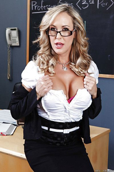 Voluptuous teacher Brandi Love strips down in the classroom