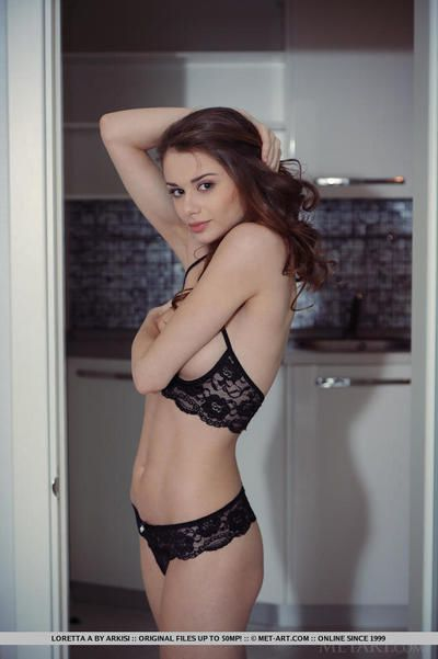 Lovely brunette looker Loretta enjoys showing off her wet cunt